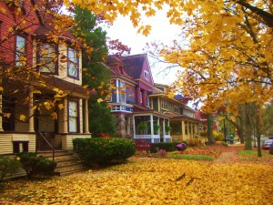 Street view of homes in Heritage Hill neighborhood of Grand Rapids